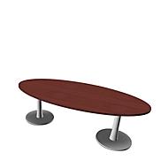Konferenztisch X-TIME-WORK, oval, 2400 x 1100 x 740 mm, Wenge-Dekor/weiß