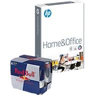 Kopierpapier Hewlett Packard Home & Office, DIN A4, 80 g/m², weiß, 15 Pakete à 500 Blatt + 6 x 250 ml Dosen Red Bull