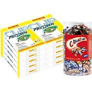 Kopierpapier Schäfer Shop CLIP PrinTech, DIN A4, 80 g/m², hochweiß, 1 Karton = 20 x 500 Blatt + GRATIS 1,5 kg Box Celebrations