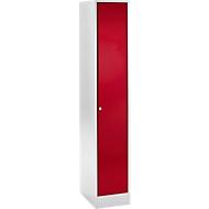 Koppelbare garderobekast, met veiligheidscilinderslot, lichtgrijs/rood
