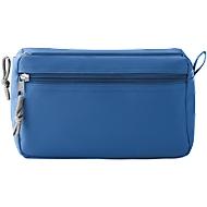 Kosmetiktasche NEW & SMART, 600D Kunststoff, 2 Reißverschlussfächer, Siebdruck 80 x 80 mm, königsblau