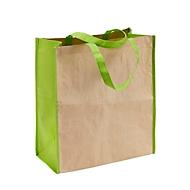 Kraftpapier-Einkaufstasche zweifarbig, Natur/Grün, Auswahl Werbeanbringung optional