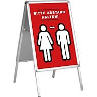 Kundenstopper, Format A1, beidseitig nutzbar, Antireflex-Folie, wetterfest, B 639 x T 700 x H 1120 mm, ohne Plakat