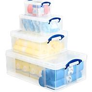 Kunststof opberdozen Really Useful Boxes, transparant, met deksel,  1x 50 l, 1x 18 l, 1x 3 l  en 1 opbergdoos 1x 9 l GRATIS