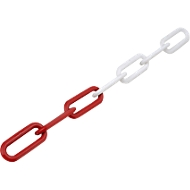 Kunststof-schakelketting, Ø 8 mm, rood/wit, 25 m