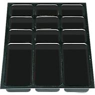 Kunststoff-Schubladeneinsätze DIN A3, 12 Fächer, 5 Stück