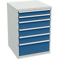 Laddeblokken voor bureautafels, 6 laden, 715 mm breed,1 lade, d 715 x h 1000 mm, grijs/blauw