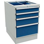 Laddeblokken voor bureautafels met sokkel, 550 mm breed, 4 laden, d 715 x h 800 mm, grijs/blauw