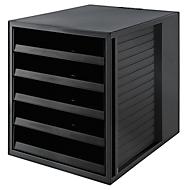Ladebakje SCHRANK-SET KARMA, 5 open lades, DIN A4, lichtlopend, B 275 x D 330 x H 320 mm, zwart