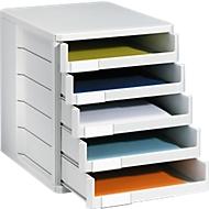Ladebox, 5 schuifladen, A4, polystyreen, lichtgrijs