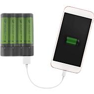 Ladegerät GP Charge Anyway, für Mignon AA & Micro AAA, als Powerbank nutzbar, inkl. Micro-USB Kabel & 4 Akkubatterien