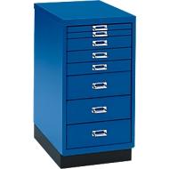 ladekast A4, blauw, 8 laden, 675 mm hoog