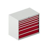 Ladekast SCHÄFER 64-36, 7 schuifladen, tot 75 kg, B 1193 x D 725 x H 1000 mm, lichtgrijs/robijnrood