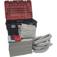 Leckagen-Notfallset in Rollkoffer mit abnehmbarem Deckel, 132-teilig, universell grau, Aufnahmekapazität 150 L