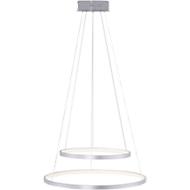 Ledhanglamp CIRCLE-DUO, staalkleurig, lichtkleur instelb., afstandsbesturing, 10+30W, B 520 x D 520 mm