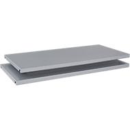 Legborden TETRIS SOLID, voor vleugeldeurkasten, van staal, B 800 mm, blank aluminium, 2 stuks