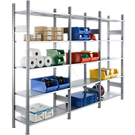 Legbordstelling R 3000, B 3105 x D 300 x H 2278 mm, complete stelling: 1 basis- en 2 aanbouwsecties inclusief 15 legborden, gegalvaniseerd