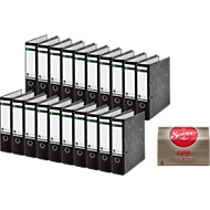 LEITZ® 20 Ordners 1080 met wolkenmarmerpapier, met gelijmde rugetiket, A4, 80 mm, zwart + SENSEO® koffie pads Classic GRATIS
