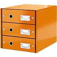 LEITZ® 3 schuifladen Click + Store, hoog, oranje