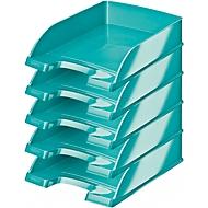 LEITZ® Ablagekorb Wow 5226, DIN A4, 5 Stück, metallic-eisblau