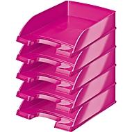 LEITZ® Ablagekorb Wow 5226, DIN A4, 5 Stück, metallic-pink