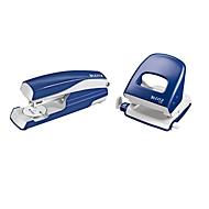 LEITZ® Bürolocher + Tischheftgerät SET, blau