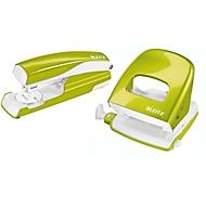 LEITZ® Bürolocher + Tischheftgerät Wow SET, metallic-grün