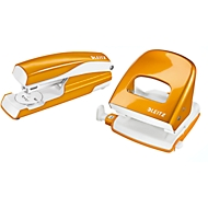 LEITZ® Bürolocher + Tischheftgerät Wow SET, metallic-orange