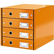 LEITZ® Click + Store, 4 Schubladen, flach, orange