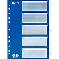 LEITZ® Intercalaires en PP, A4, blanc, avec page de garde bleue, 1-5, code 1250