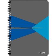 LEITZ® Office collegeblok 445800 A5, gelamineerde kaft, geruit, blauw