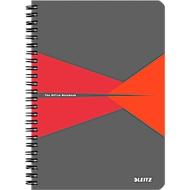 LEITZ® Office collegeblok 445800 A5, gelamineerde kaft, geruit, rood