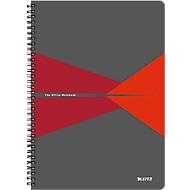 LEITZ® Office collegeblok 464700 A4, gelamineerde kaft, geruit, rood