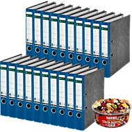 LEITZ® Ordner 1050 + 1kg HARIBO Color-Rado, DIN A4, Rückenbreite 52 mm, 20 Stück, blau