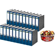 LEITZ® ordner 1080 + 1 kg HARIBO Color-Rado, A4, rugbreedte 80 mm, 20 stuks, blauw