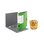 LEITZ® Ordner SOLID, DIN A4, Rückenbreite 82 mm, 5 Stück, hellgrün + GRATIS HARIBO Goldbären
