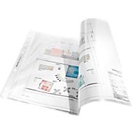 LEITZ Prospekthüllen 4723, DIN A3 quer, oben offen, 50 Stück, genarbt, transparent