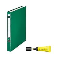 LEITZ® Ringordner, A4, 2-D-Ringmechanik, Rückenbreite 35 mm, grün + GRATIS STABILO Textmarker