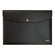 Leitz® Sammelmappe Recycle, Format A4, Druckknopfverschluss, blickdicht, CO2-neutral, 100 % recycelbar, Blauer Engel, Recyclingkunststoff, schwarz