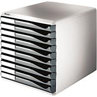 LEITZ® Schubladenbox, 10 Schübe, DIN A4, Polystyrol, lichtgrau/grau