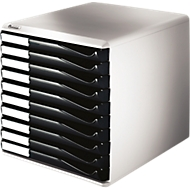 LEITZ® Schubladenbox, 10 Schübe, DIN A4, Polystyrol, lichtgrau/schwarz