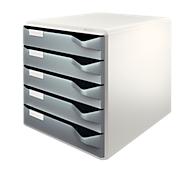 LEITZ® Schubladenbox, 5 Schübe, DIN A4, Polystyrol, lichtgrau/grau