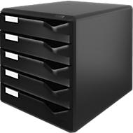 LEITZ® Schubladenbox, 5 Schübe, DIN A4, Polystyrol, schwarz/schwarz
