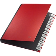 LEITZ® sorteermap, voor A4, alfabetisch, 26 waaiers, grijs karton, rood