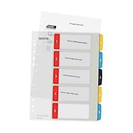 Leitz®tabbladen Cosy, A4 extra breed, beschrijfbaar, universeel ponsen, vervangbaar dekblad, polypropyleen, gekleurde tabbladen 1-5