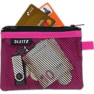 Leitz WOW Traveller Zip-Beutel, durchsichtiges Netzfach & blickdichtes Fach, Größe S, pink