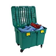 Lekkage olieabsorberende set voor noodgevallen in verrijdbare koffer voor versch. soorten olie, opnamecapaciteit 150 l