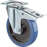 Lenkrolle mit Feststeller, Elastic blau, rollengelagert, Bauhöhe 105 mm