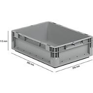 Lichte Eurobox ELB 4120, van PP, inhoud 10,9 l, zonder deksel, grijs