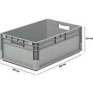 Lichte Eurobox ELB 6220, van PP, inhoud 43,7 l, zonder deksel, grijs